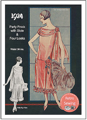 1920/'s Flapper Party Dress Sewing Pattern Downton Era