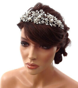 Image is loading Bridal-Prom-Tiara-Floral-Victorian-Crystal-Pearl-Fascinator - 2938aa27eb5