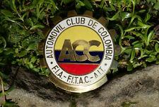 ENAMEL VINTAGE AUTOMOBILE CAR CLUB BADGE # F.I.A. AUTOMOVIL CLUB DE COLOMBIA