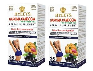 2 Packs Of Hyleys Green Tea Garcinia Cambogia Acai Berry 100