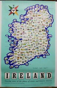 Vintage-Irish-Tourism-Map-Poster-1960-039-s-40-034-25-034-Places-of-Historic-Interest