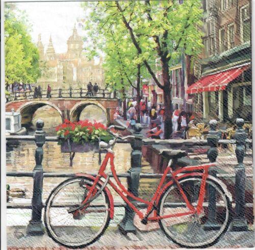 4 Single paper decoupage napkins. Amsterdam canal design - 405