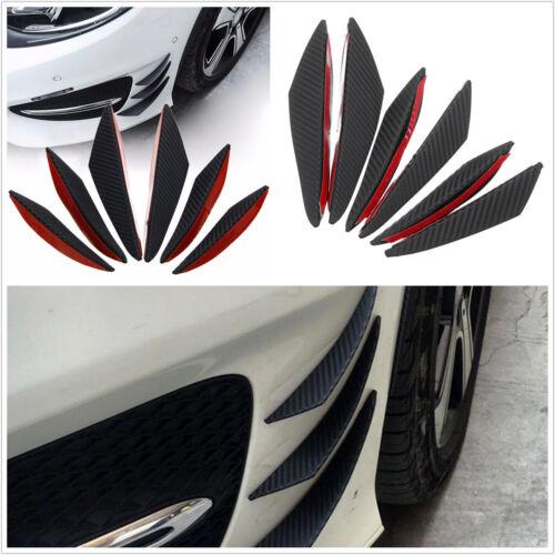 6 X ABS Autos Front Bumper Fins Spoiler Refit Splitter Black Carbon Fiber Color
