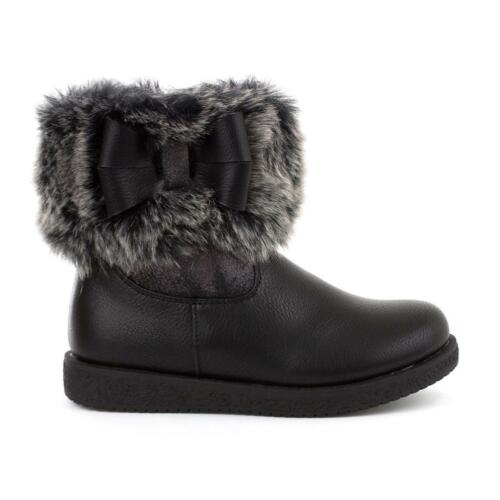Girls Ankle Boot with Faux Fur and Bow in Black by Walkright