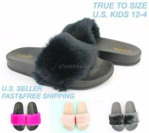1f8502ee48e8 Kids Girls Slides Furry Slippers Shoes Faux Fur Slip-On Flip Flop ...