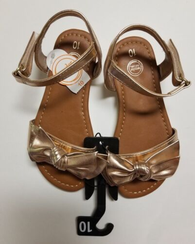 Wonder Nation Girl/'s Toddler Gold Shiny Knotted Bow Flexible Sandals NWT