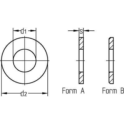 Unterleg Scheiben Form A DIN 125 - DIN EN ISO 7089 Stahl galvanisch verzinkt
