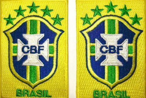 BRAZIL SOCCER EMBLEM PATCH SET OF 2 BRAZIL