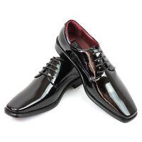 Mens Dress Tuxedo Shoes Black Round Toe Patent Leather Shiny Lace Up Parrazo