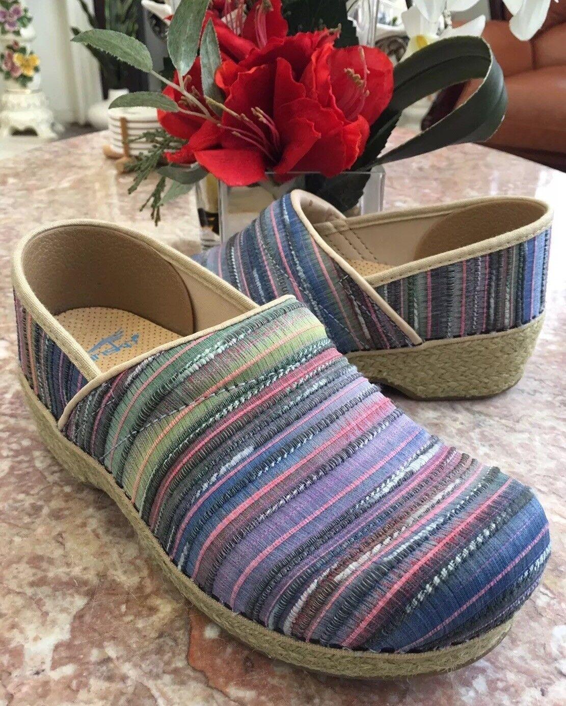 New Dansko Professional Jute Pro Artisan Weave Multicolor Clog Sz US 7.5-8/EU 38