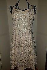 """Nine West"" Womens Blush Sequin Embellished Semi-Formal Spaghetti Strap Dress~12"