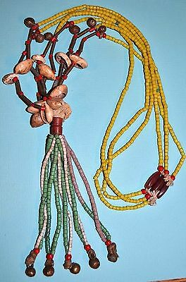 Fulani Tribal Necklace W Brass Bells, Metal Beads, Glass Beads & Cowrie Shells