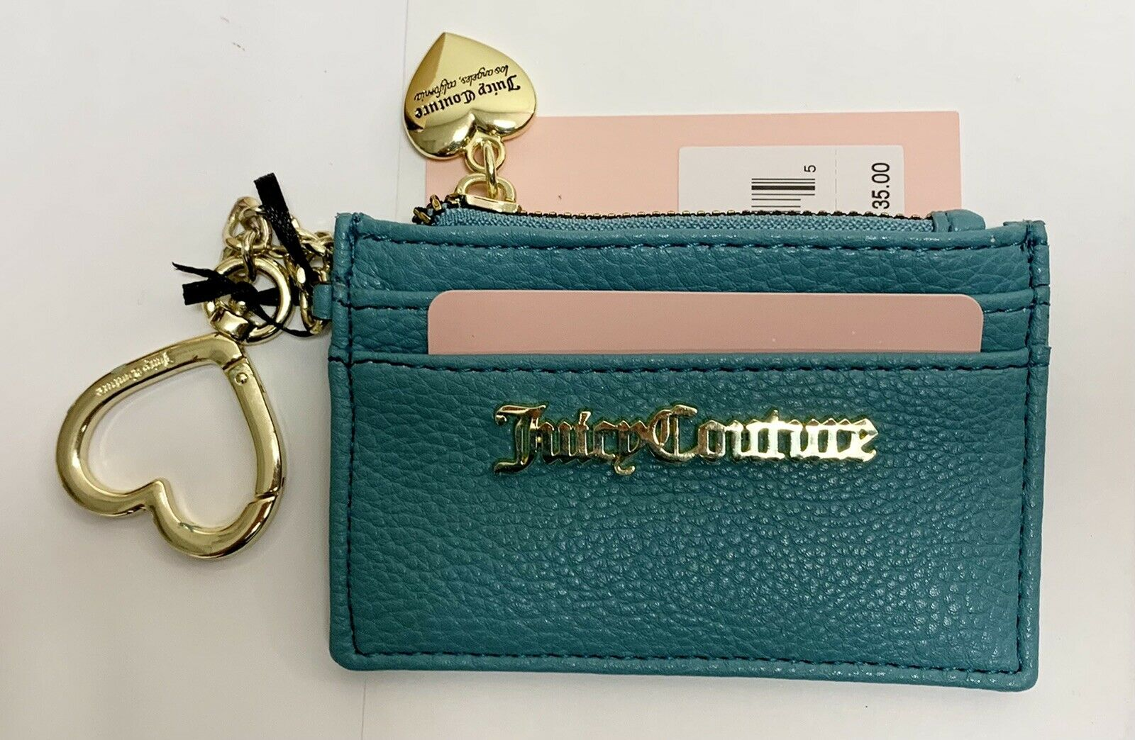 New w/ tags Juicy Couture Tonic Turquoise Charm City Card Case Key Chain Wallet
