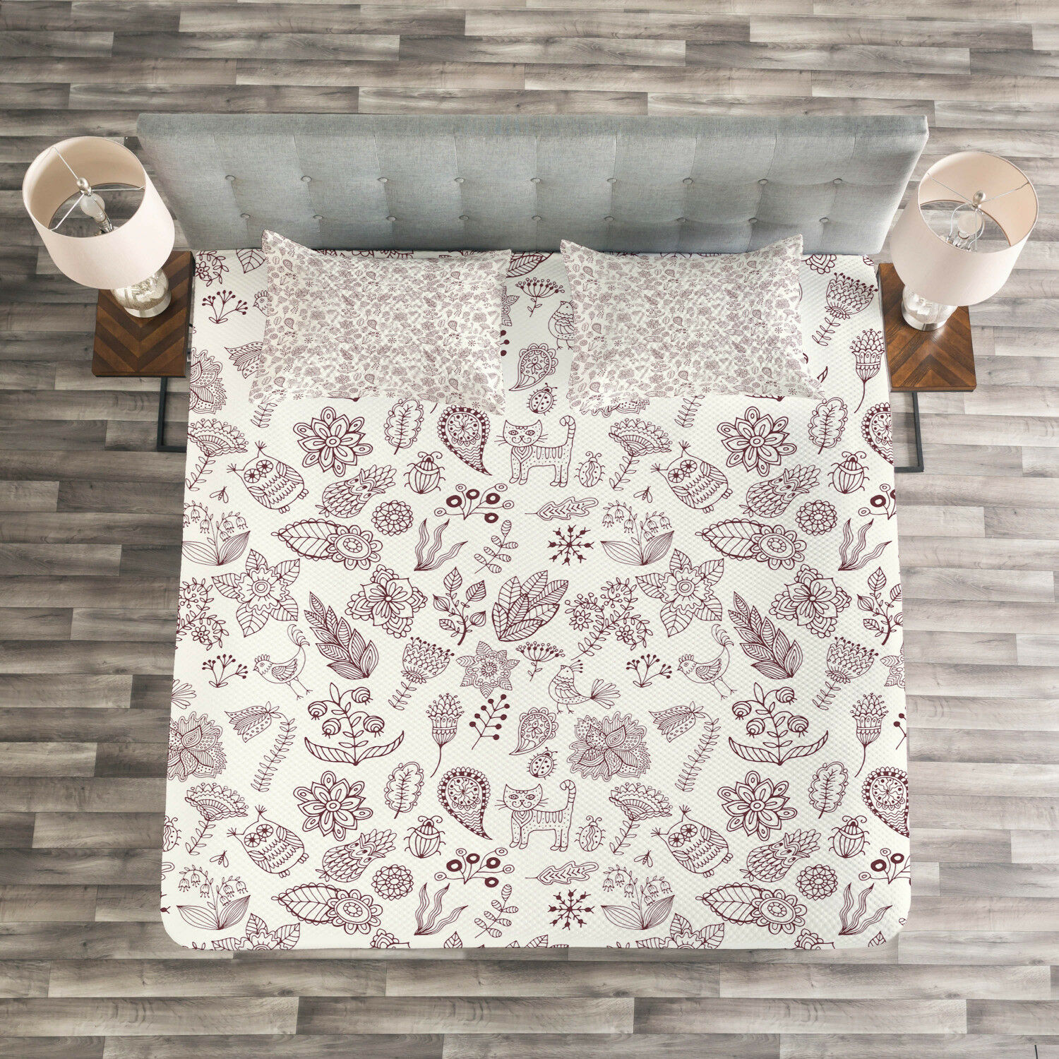 Playroom Quilted Bedspread & Pillow Shams Set, Natural Figures Print
