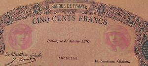 500frs Bleu et Rose Spécimen d'imprimerie  31 janvier 9211