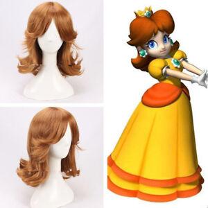 Super Mario Princess Daisy Prinzessin Braun Brown Perücke Wig Cosplay Costume