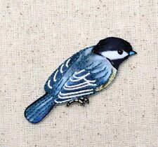 Iron On Embroidered Applique Patch Black White Blue Chickadee Bird Facing Right