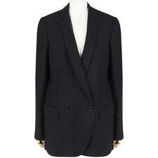 Stella McCartney Black Double-Breasted Mesh Fringe Back Jacket Blazer IT42 UK10