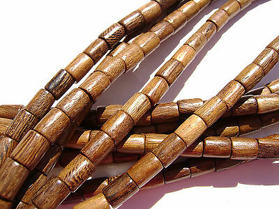 CL-106 Wood Bead Robles Handmade Brown Wax Polished Tube,  6x8mm 16 in strand