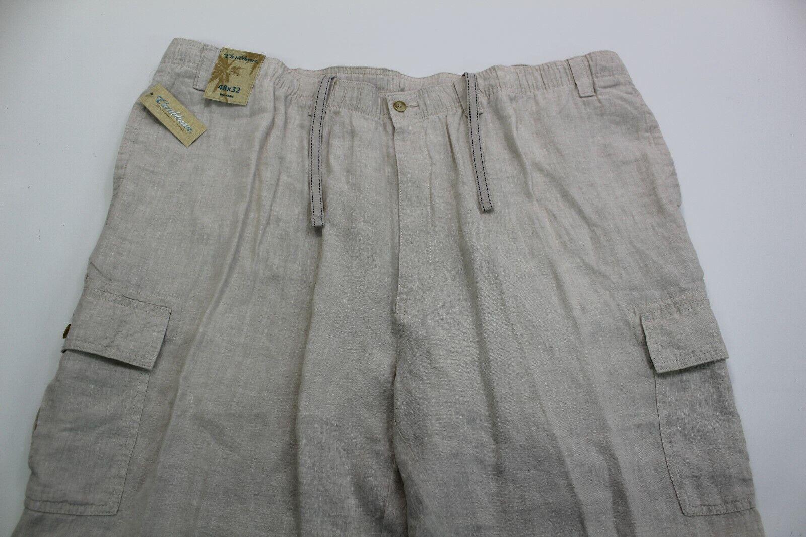 CARIBBEAN Men's 100% LINEN Cargo Pants 48x32 48 32 NWT Beach Wear