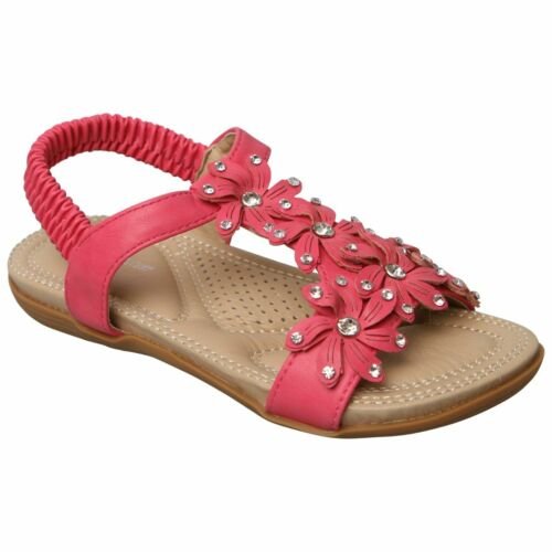 GIRLS DIAMANTE KIDS PARTY SANDALS SLING BACK SUMMER FLAT SHOES OPEN TOE SIZE NEW