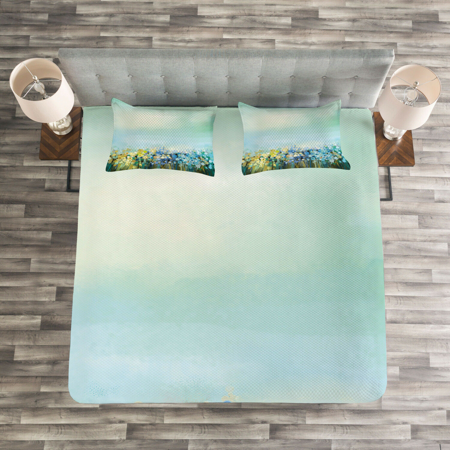 Flowers Quilted Bedspread & Pillow Shams Set, Aqua Painting Effect Print