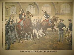 GARDE-REPUBLICAINE-A-CHEVAL-EXERCICES-POLICIER-TOITS-PARIS-LE-PETIT-JOURNAL-1899