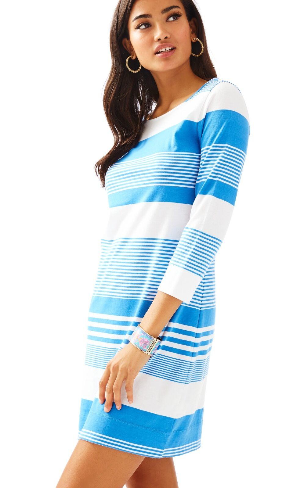NWT Lilly Pulitzer Bay bluee Coconut Stripe Marlowe Dress, Sz L,