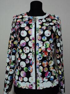 Flower Pattern White Leather Jacket Woman Coat Women Zipper Short Light Round D7