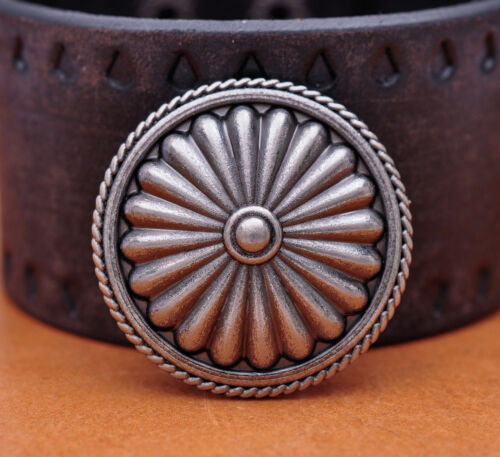 10PCS 3.5 CM ANTIQUE SILVER ROUND ROPE FLORAL SADDLE RIVETBACK CONCHOS FOR CRAFT