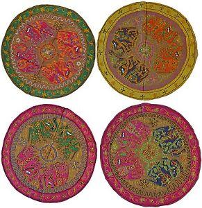 Elefant-Kreis-Wandbehang-Indian-Pailette-Wandteppich-Bestickt-34-034-86cm-Braun