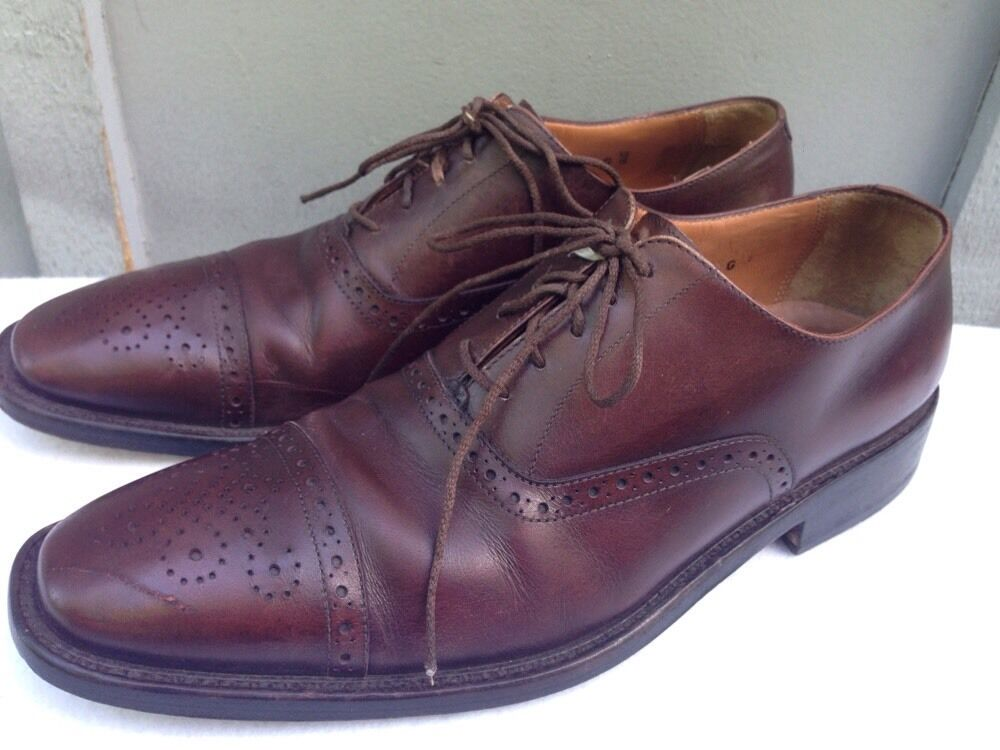 Alfonso Marciano Brown Leather Oxford shoes Semi Brogue Handmade  Size 8