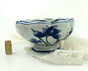 Fine Pottery Pedestal Planter Blue & White Floral Design AAA Imports Decoware