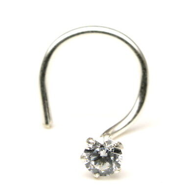 Single Stone Cz Silver Nose Piercing Corkscrew Nose Ring Stud L