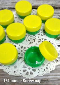 100-GREEN-Feeder-JARS-Yellow-Caps-1tsp-1-4oz-Herbs-Herbal-Stash-3301-Geocache