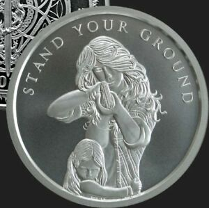 1-oz-silver-Stand-Your-Ground-999-Pure-COA-BU-Women-girl-NRA-firearms-limited