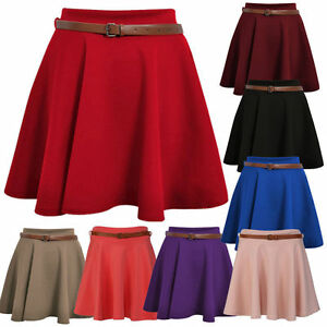 NEW Ladies Womens Girls Non-Belted Flared Plain Mini Skirt All Sizes*pnt 6-24
