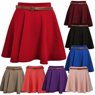ST040 Womens Belted Skart Flared Jersey Plain Girl Short Mini Party Skirt