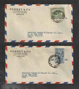 1950s-x2-PARRET-amp-CO-CARACAS-VENEZUELA-ADVERTISING-COVERS-Scott-461-C343