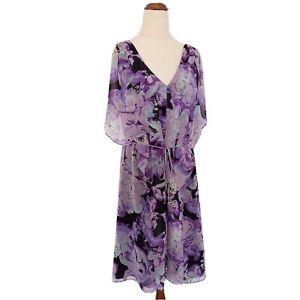 Leona-Edmiston-Size-10-Purple-Patterned-Short-Sleeve-Short-Dress-Women-039-s