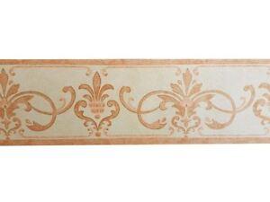 Vintage-Scroll-Watercolour-Effect-Wallpaper-Border-Orange-Cream-Textured