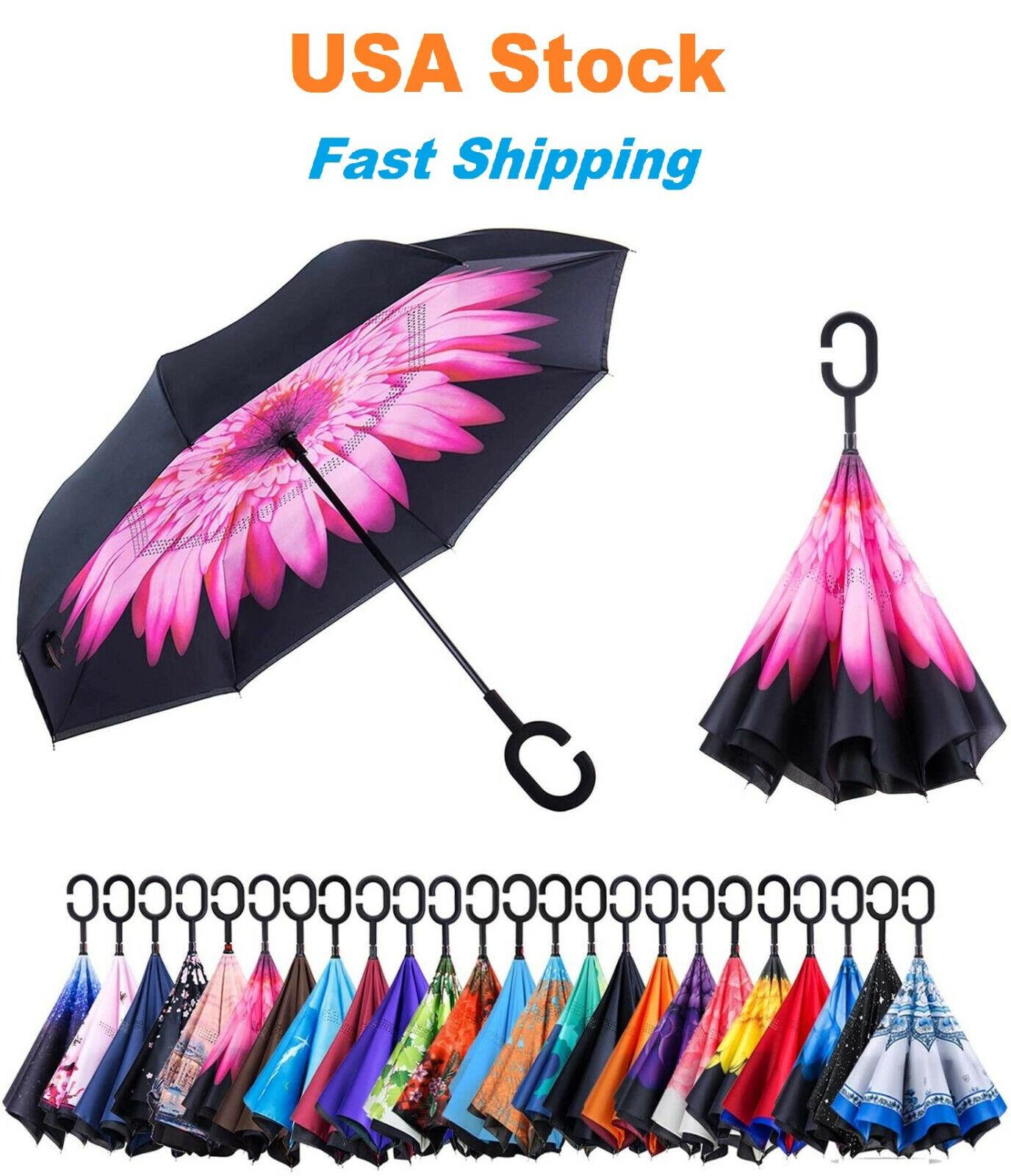 C-Handle Inverted Reverse Umbrella, Flower print (Inside-out, Upside-down)