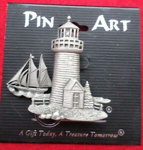 PIN ART LIGHTHOUSE NEW ON CARD LIGHTHOUSE AND SAIL BOAT FREE SHIP IN USA