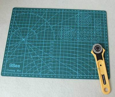 28mm Rotary Cutter Blade + A4 Cutting Mat Quilting Fabric Paper Leather Craft