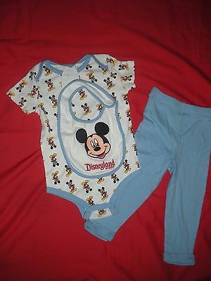 Baby Boys Mickey Mouse 3 Piece Outfit 0-12 Months Top Pants Bib