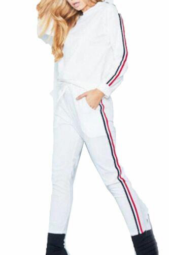 Femme Costume 2 pièces Femme Sweat-shirt rayures sur les côtés Jogsuit Pantalon Haut Survêtement