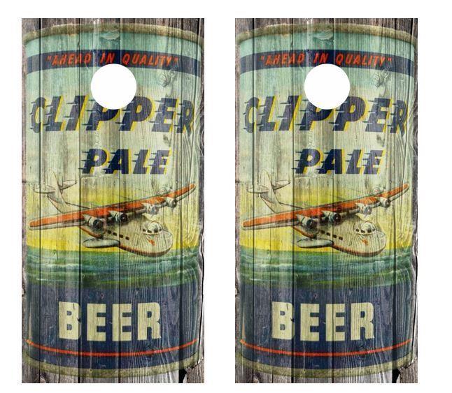 Vintage Clipper Pale Beer - Beer Can Barnwood Cornhole Board Wraps