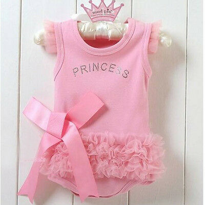 0-36M Baby Girls Kids Pink Bodysuit Princess One-piece Shirt Tops Dress Costume