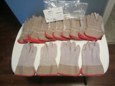 12 Pairs Leather Palm Safety Split Cowhide Economy Welding Cuff Gloves Size Med