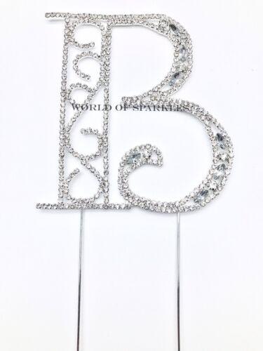 Large Alphabets Letters Fancy Diamond Diamante Rhinestone Cake Topper Decoration